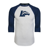 White/Navy Raglan Baseball T-Shirt-L w/ Horse Distressed