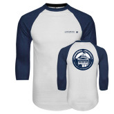 White/Navy Raglan Baseball T-Shirt-Longwood University Flat