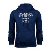Navy Fleece Hoodie-Just Kick It Soccer Design