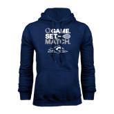 Navy Fleece Hoodie-Game. Set. Match. Tennis Design