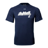 Under Armour Navy Tech Tee-Softball Script w/ Bat Design