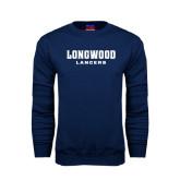 Navy Fleece Crew-Longwood Lancers Wordmark