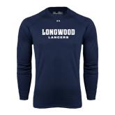 Under Armour Navy Long Sleeve Tech Tee-Longwood Lancers Wordmark