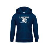 Youth Navy Fleece Hoodie-Lacrosse Helmet Design