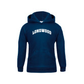 Youth Navy Fleece Hoodie-Arched Longwood