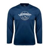 Performance Navy Longsleeve Shirt-Arched Basketball Design