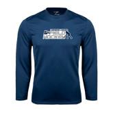 Performance Navy Longsleeve Shirt-Field Hockey w/ Player Design