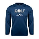 Performance Navy Longsleeve Shirt-Golf w/ Golf Ball Design