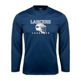 Performance Navy Longsleeve Shirt-Lacrosse Helmet Design
