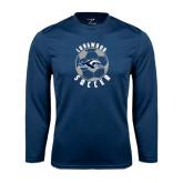 Performance Navy Longsleeve Shirt-Soccer Ball Design