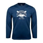 Performance Navy Longsleeve Shirt-Softball Bats and Plate Design