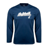 Performance Navy Longsleeve Shirt-Softball Script w/ Bat Design