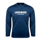 Performance Navy Longsleeve Shirt-Longwood Lancers Wordmark