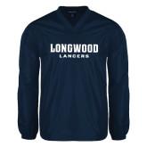 V Neck Navy Raglan Windshirt-Longwood Lancers Wordmark