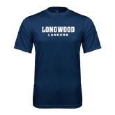 Performance Navy Tee-Longwood Lancers Wordmark