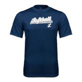 Performance Navy Tee-Softball Script w/ Bat Design