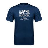 Performance Navy Tee-Game. Set. Match. Tennis Design
