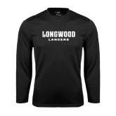 Performance Black Longsleeve Shirt-Longwood Lancers Wordmark
