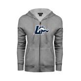 ENZA Ladies Grey Fleece Full Zip Hoodie-L Horse