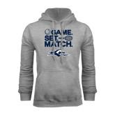 Grey Fleece Hoodie-Game. Set. Match. Tennis Design
