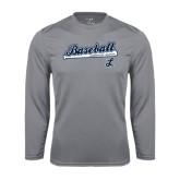 Performance Steel Longsleeve Shirt-Baseball Script w/ Bat Design
