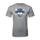 Grey T Shirt-Softball Bats and Plate Design