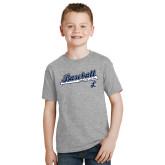 Youth Grey T-Shirt-Baseball Script w/ Bat Design