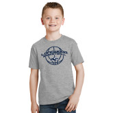 Youth Grey T-Shirt-Arched Basketball Design