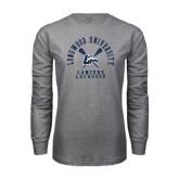 Grey Long Sleeve T-Shirt-Lacrosse Crossed Sticks Design