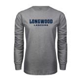 Grey Long Sleeve T-Shirt-Longwood Lancers Wordmark