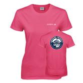 Ladies Fuchsia T Shirt-Longwood University Flat