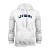 White Fleece Hoodie-Arched Longwood