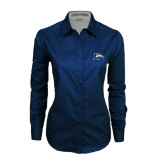 Ladies Navy Twill Button Down Long Sleeve-L Horse