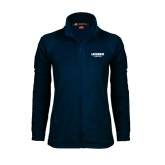 Ladies Fleece Full Zip Navy Jacket-Longwood Lancers Wordmark