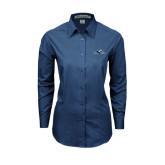 Ladies Deep Blue Tonal Pattern Long Sleeve Shirt-Lancer
