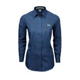Ladies Deep Blue Tonal Pattern Long Sleeve Shirt-L Horse