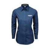 Ladies Deep Blue Tonal Pattern Long Sleeve Shirt-Longwood Lancers Wordmark