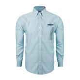 Mens Light Blue Oxford Long Sleeve Shirt-Longwood Lancers Wordmark