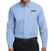 Light Blue Twill Button Down Long Sleeve-Longwood Lancers Wordmark