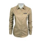 Ladies Khaki Twill Button Down Long Sleeve-Longwood Lancers Wordmark