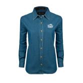 Ladies Denim Long Sleeve Shirt-Official Logo