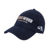 Navy Twill Unstructured Low Profile Hat-Longwood Lancers Wordmark