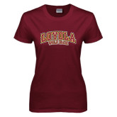 Ladies Maroon T Shirt-Loyola Wolf Pack Arched