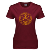 Ladies Maroon T Shirt-Loyola Seal