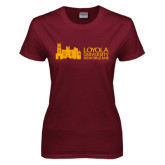 Ladies Maroon T Shirt-Loyola University Mark