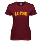 Ladies Maroon T Shirt-LOYNO