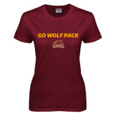 Ladies Maroon T Shirt-Go Wolf Pack
