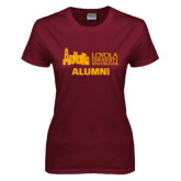 Ladies Maroon T Shirt-Alumni