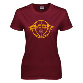 Ladies Maroon T Shirt-Basketball Arched
