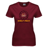 Ladies Maroon T Shirt-Volleyball On Top